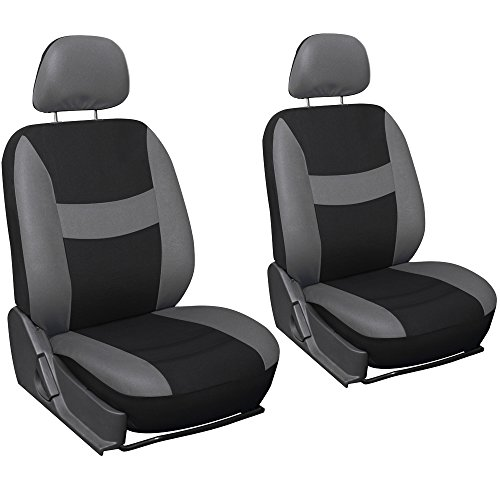 Oxgord Flat Cloth Bucket Seat Cover Set for Car/Truck/Van/SUV, Gray & Black (Gray Suv Seat Covers compare prices)