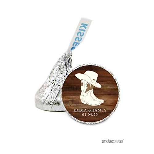 Andaz Press Personalized Chocolate Drop Labels Stickers, Wedding, Cowboy Boots with Hearts, 216-Pack, Custom Name, For Hershey's Kisses Party Favors, Country Western Gifts, - Boots Www Com