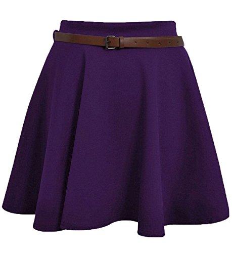 Generic - Jupe Plisse Patineuse Femme Fille Taille Extensible Uni avec Ceinture Jersey Court Taille 36 42 Violet