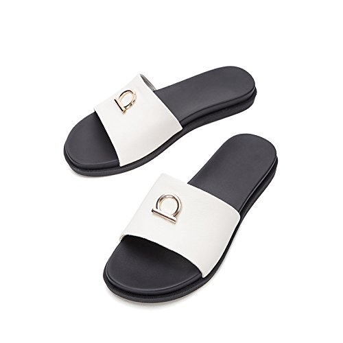 moda donna basso alti bufalo piatti tacco casual Tacchi con estivi 39 Sandali da DHG alla Pantofole Sandali Sandali di basso pelle tacco a gqxYAnUaIw