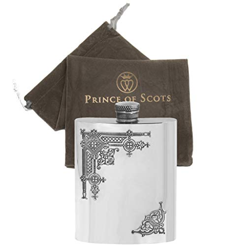 Design Flask Hip (Prince of Scots English Pewter Gothic Design Hip Flask)