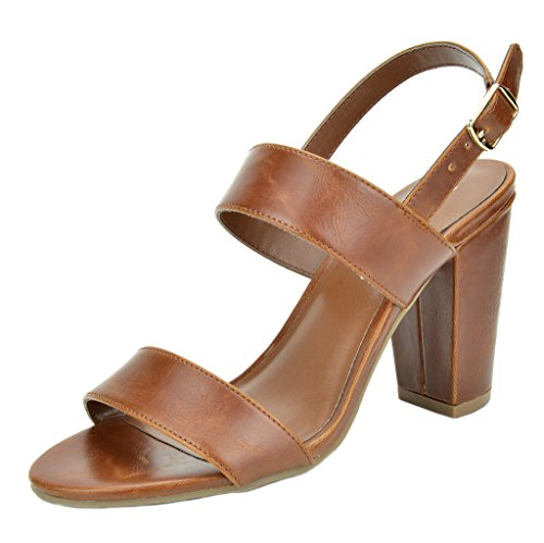TOETOS Women's STELLA-01 Tan Pu Open Toe Mid Chunky Heel Pump Sandals - 11 M US