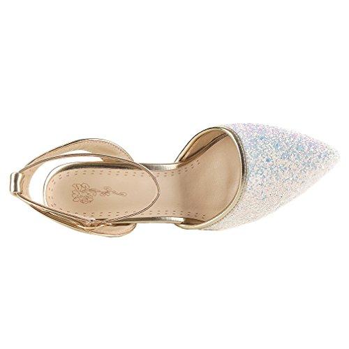 YE Damen Glitzer Knöchelriemchen Stiletto High Heel Pumps mit Schnalle Party Elegant Schuhe Weiß