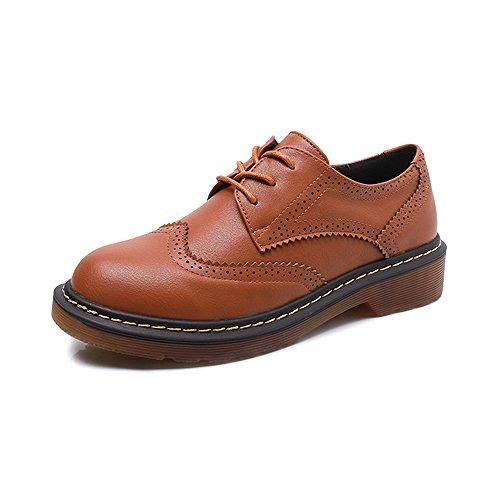 OCHENTA Zapatos de plataforma zapatos de encaje plana de Moda #08Amarillo