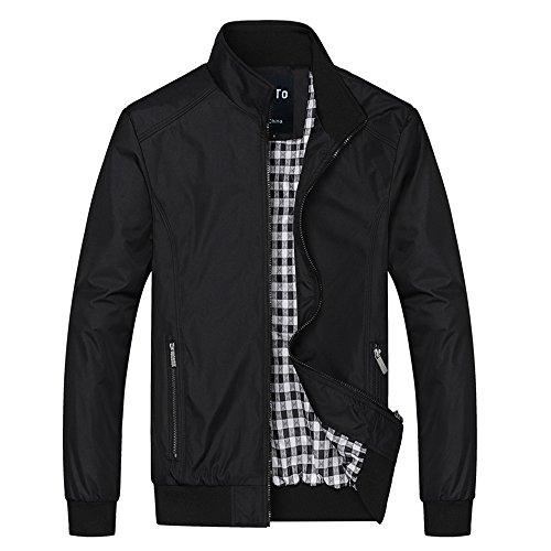 Lega Men's Casual Lightweight Zip Coat Windbreaker Jacket (Black, L) - Bomber Classic Coat