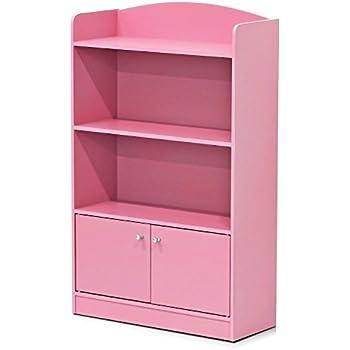 Superbe Furinno FR16121PK Stylish Kidkanac Bookshelf With Storage Cabinet, Pink