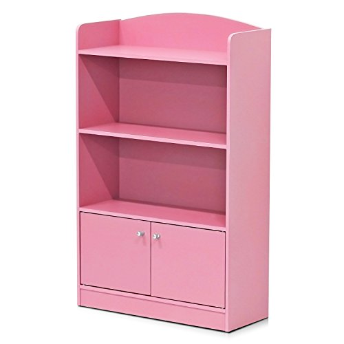 Furinno FR16121PK Stylish Kidkanac Bookshelf with Storage Cabinet Pink