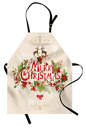 Ambesonne Christmas Apron, Merry Xmas Wish with