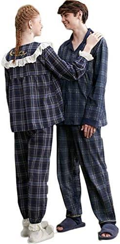 ジュタオピン ペア パジャマ カップル メンズ 上下 セット 高級 レディース ルームウェア おしゃれ 綿 長袖 部屋着 おそろい 春 かわいい コットン 紳士 紺 ネイビー m l ll 3l 寝巻き チェック柄 フレア