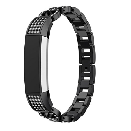 Price comparison product image MChoice Luxury Alloy Crystal Watch Band Wrist Strap For Fitbit Alta HR/Fitbit Alta (Black)