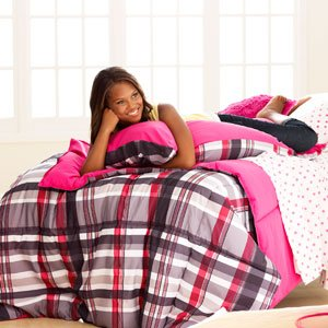 Pink and Black Plaid Lounge Pillow 20 X 26
