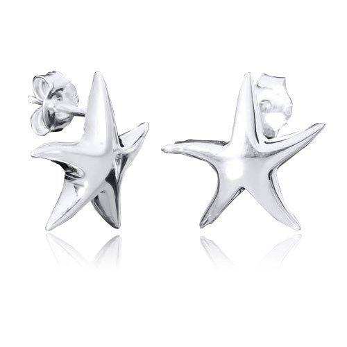 f5a1f10e3335 Materia joyería 925 plata de ley pendientes de plata pendientes de estrellas  de mar ø13mm brillante joyas Box  SO-36  Amazon.es  Joyería