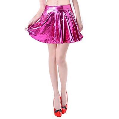 TQS Shiny Metallic Skater Skirt Liquid Wet Look Pleated Short Mini Skirts