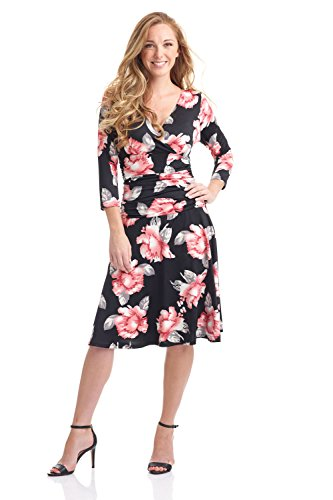 Rekucci Women's Slimming 3/4 Sleeve Fit-and-Flare Crossover Tummy Control Dress (8,Pink Painted Floral) ()