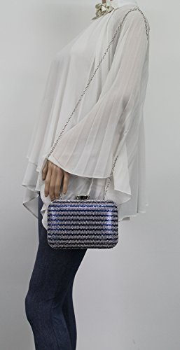 Diamante Blue Prom Bag Clutch Party Tone Wedding Two Jane Box Womens SWANKYSWANS qPUAp7nw