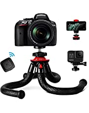 """Flexible Travel Tripod for iPhone Camera, Fotopro 12"""" Waterproof Mini Tripods for Smartphone Samsung Huawei XiaoMi with Phone Mount & Bluetooth Remote Control & Sport Action Camera Gopro Adapter"""