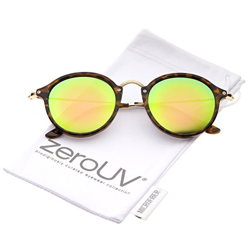 Iconic Classic Thin Metal Temple Colored Mirror Lens Round Sunglasses 49mm (Tortoise-Gold/Pink-Green ()
