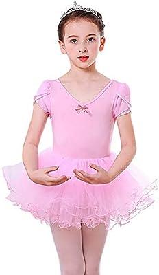 Baywell Maillot Ballet Niña Rosa con Falda Gimnasia Ritmica Niña ...