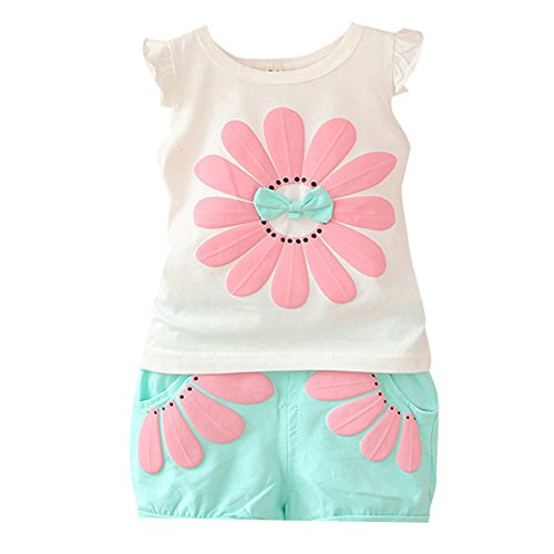Timall Baby Kids Girls Sunflower Printted Vest+ Shorts 2pcs Outfits Set Clothes
