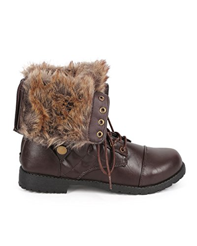 Bumper DB23 Women Fur Foldover Quilted Round Toe Combat Boot Brown 4Kz2BF