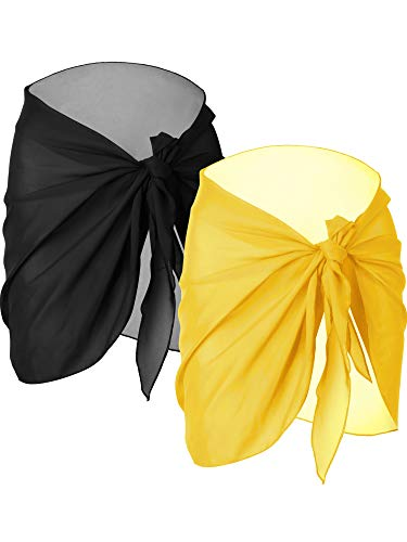 Pool Cloths Yellow - Chuangdi 2 Pieces Women Beach Wrap Sarong Cover Up Chiffon Swimsuit Wrap Skirts (Black and Yellow, Short)