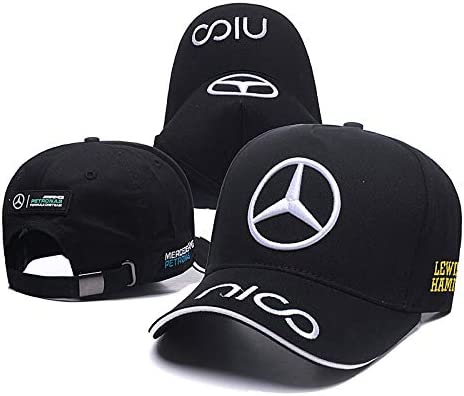 Westion Benz Logo Motorsport Hat F1 Formula Racing Baseball Caps for Men and Women fit Benz Black
