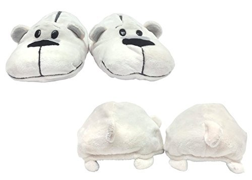 FlipaZoo SlipaZoos by Jay at Play (Husky to Polar/ Small) - Transforming Animal Slippers Are Two Pairs in One - Plush Comfort for Your Feet and Twice the Fun for Kids and Adults