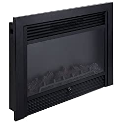"Giantex 28.5"" Electric Fireplace Insert with Heater Glass View Log Flame with Remote Control Home by Giantex"