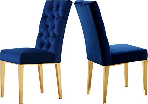 Meridian Furniture 716Navy-C Capri Velvet Dining Chair, Set of 2,  Navy