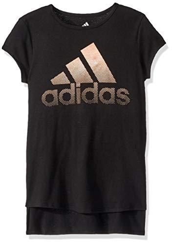adidas Girls' Big Short Sleeve Drop Tail T-Shirt