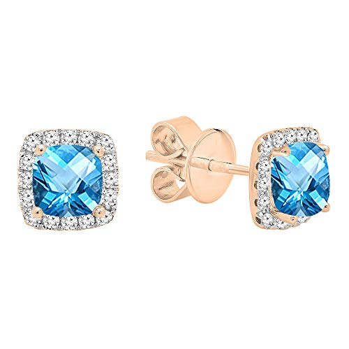 Dazzlingrock Collection 18K Each 4 MM Cushion Blue Topaz & Round White Diamond Ladies Halo Stud Earrings, Rose Gold