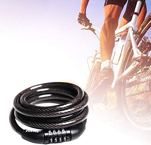 XHYRB 自転車のロックコードキーアンチ盗難バイクパスワードサイクリングコンビネーションメタル軽量セキュリティロック用スクーターサイクリング自転車 自転車ロック (Color : Black)
