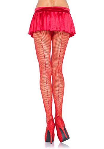 Leg Avenue Women's Fishnet Pantyhose With Back Seam, Red, One Size (Red Fishnets)