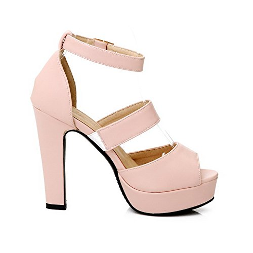 Allhqfashion Womens Hoge Hakken Zacht Materiaal Gesp Peep Toe Hakken-sandalen Met Polsband Roze