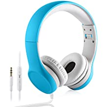 YUSONIC Over-Ear Kids Headset Volume Limited Headphones for Children (Blue)