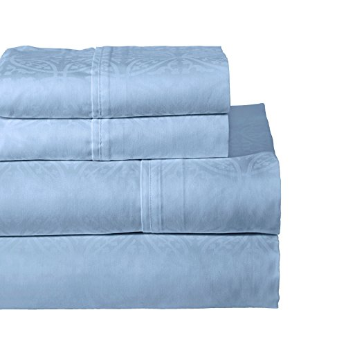 Cotton Sheet Set Emb - Pointehaven 300 Thread Count Egyptian Cotton Embroidered Pillowcase, King, Blue