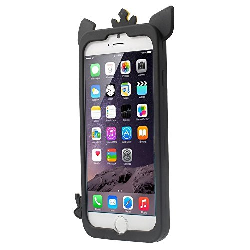 Apple iPhone 6/6S Étui Case silicone porc roi 3D Noir decui Noir Coque de protection en silicone