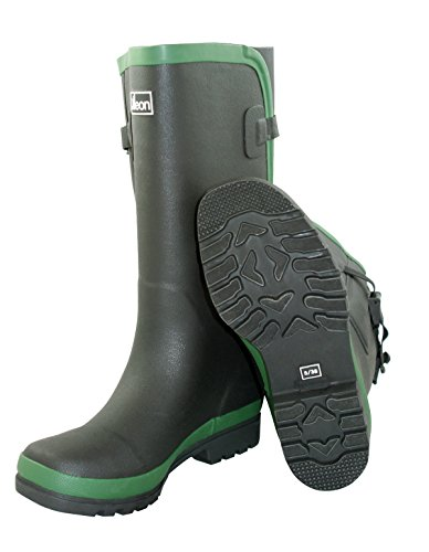 Jileon Extra Wide Calf Rubber Rain Boots With Rear Expansion -Widest Fit Boots In The US - up To 21 Inch calves- Wide In The Foot and Ankle -Durable Boots For All weathers Black U5IYe