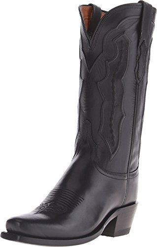 (Lucchese Women's Handmade Grace Ranch Hand Western Boot Square Toe Black 6.5 M US)