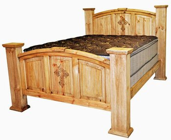 rustic western king size real wood mansion bed with cross