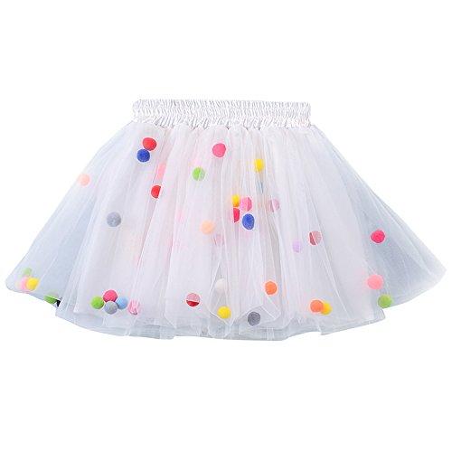 MIOIM Baby Toddler Little Girls Rainbow Pompom Balls Pettiskirt Dance Dress 4 Layers Tulle Tutu (Baby Halloween Costumes Uk 6 9 Months)