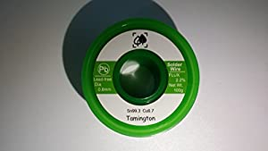 Lead Free Solder Wire Sn99.3 Cu0.7 with Rosin Core for Electrical Soldering 100g (0.6 mm) by TAMINGTON by PLR