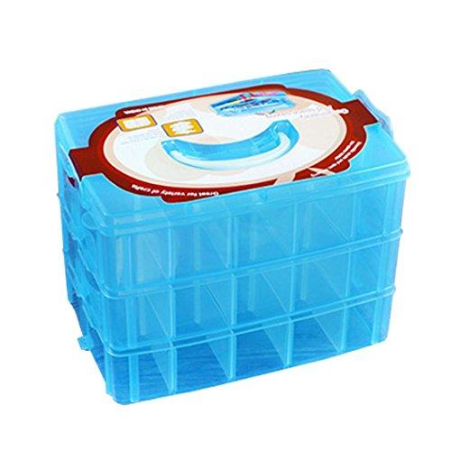 Vibola Adjustable Jewelry Storage Box Case Plastic Craft Organizer Beads Tools Storage Box 3-Layers (Sky Blue) by Vibola®