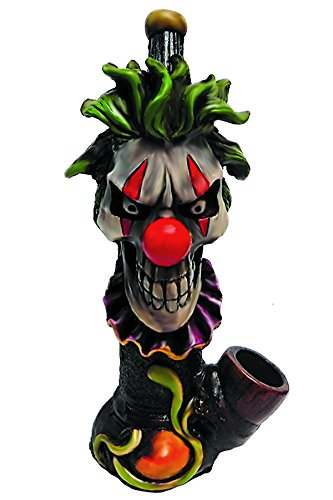Scary Clown Smoking Pipe - Handmade Tobacco Pipe - Hand Pipe - Red Nose - Green Hair - Evil Clown - Creepy Circus - Halloween - Freaky Gifts