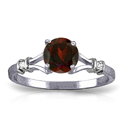 1.07 CTW 14k Solid White Gold Ring with Natural Diamonds and Garnet - Size 6.5
