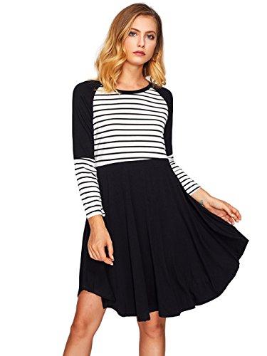Raglan Flare Dress (Milumia Women's Raglan Sleeve Contrast Striped Dress X-Large Black)