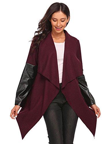 Zeagoo Women's Wrap Trench Coat Casual Wool Tie-Belt Drape Duster Coat Outwear Wine Red (Leather Wool Coat)