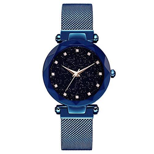 Wrist Watches Fashion Accessories, Luxury Rhinestone Starry Sky Round Dial Mesh Band Women Quartz Wrist Watch Gift - Blue ()