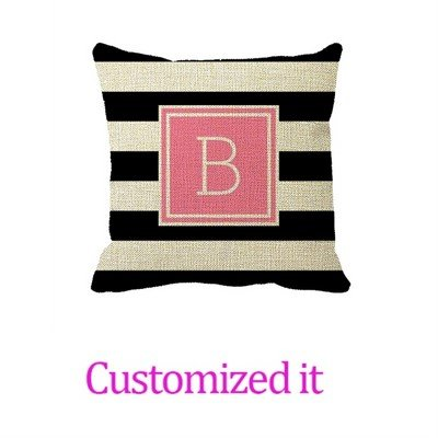Black and White Stripe Pink Monogram Outdoor Outdoor Pillow Cover Linen Burlap Throw Pillow Sham Cushion Cover 20 x 20