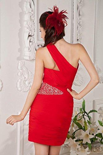 Schulter Cocktailkleider Rot kurz eine GEORGE Rot BRIDE Taillendekoration 8xqw8PtY